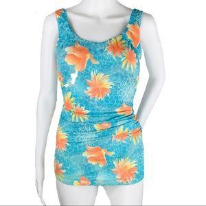 4/30$ T.H.E Blue Peach One Piece Illusion Swimsuit